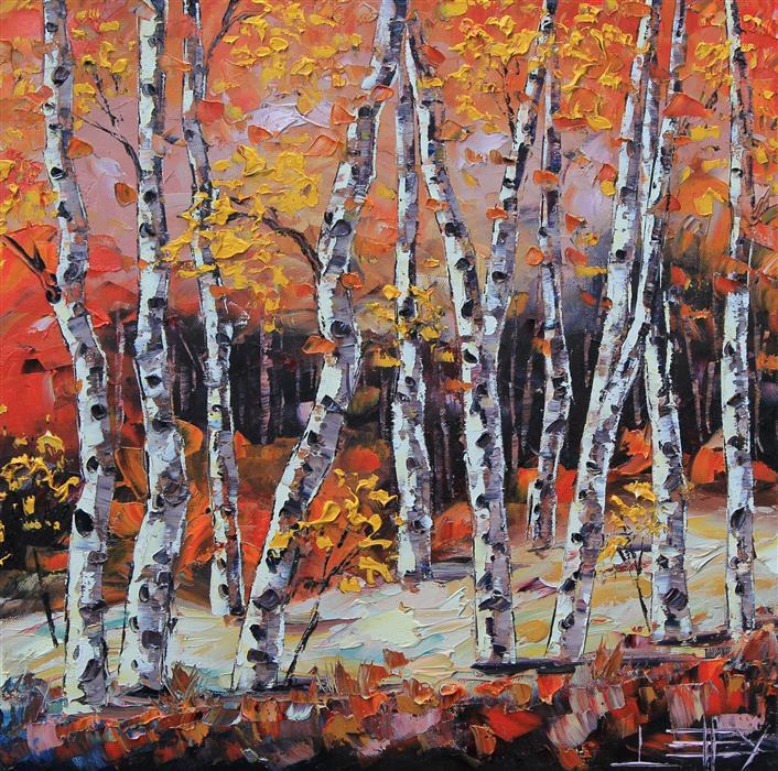 "Benevolent Birch  (20"" x 20"") by Lisa Elley, oil painting"
