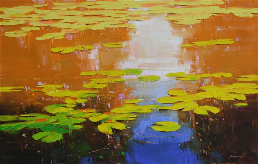 """Nymphaeas Tropical Waterlily  (27"""" x 44"""")  by Vahe Yeremyan, oil painting"""