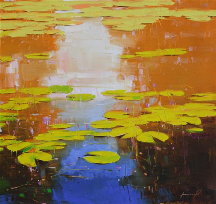 """Detail of   Nymphaeas Tropical Waterlily  (27"""" x 44"""")  by Vahe Yereyman, oil painting"""