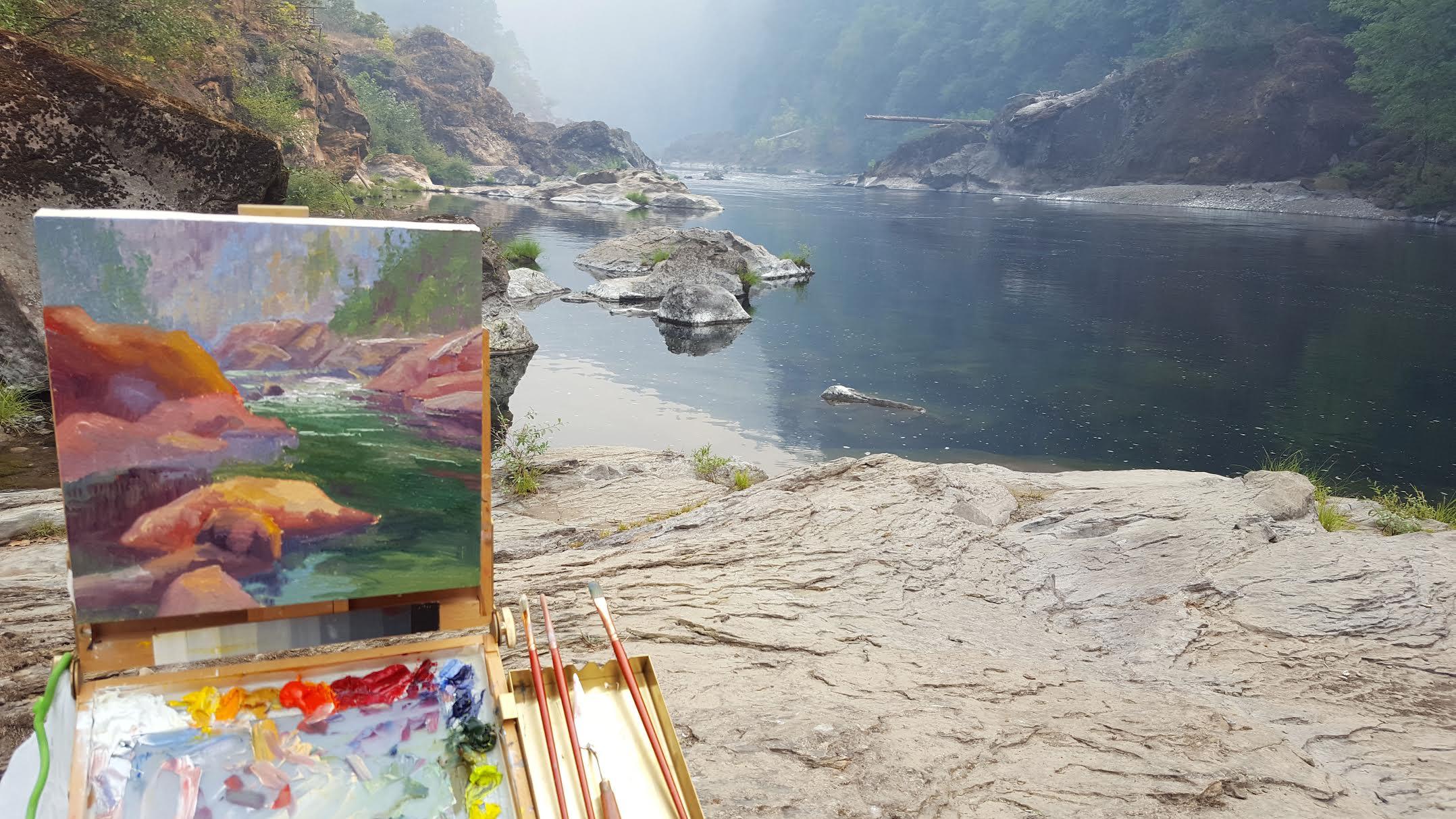 Karen E. Lewis'  painting and materials at the Umpaqua En Plein Air competition