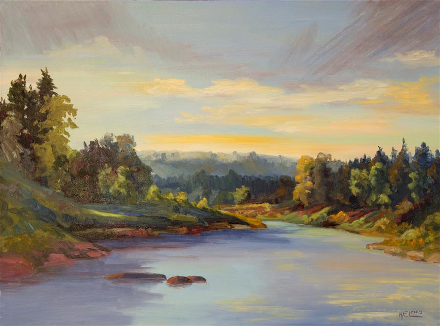 """Afternoon Gold  (18"""" x 24"""")  by Karen E. Lewis, oil painting"""