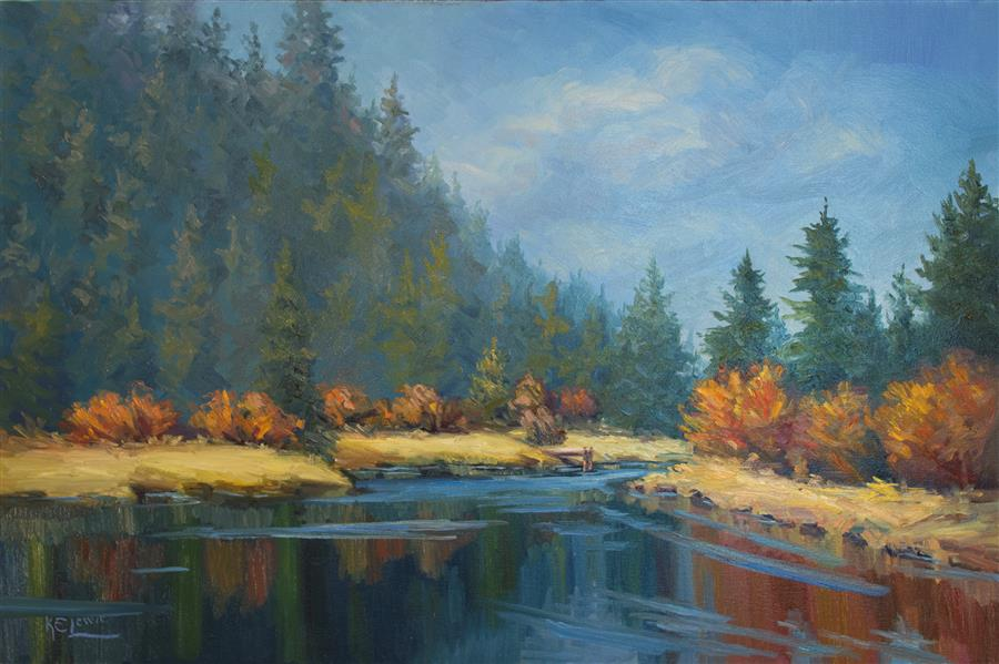 """Dock Dreaming of Fishing  (24"""" x 36"""")by Karen E. Lewis, oil painting"""