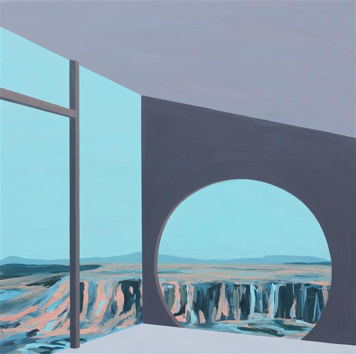 """Arcosanti II (Architected Landscape 27) (36"""" x 36"""") by Jessica Ecker, acrylic painting on stretched canvas"""