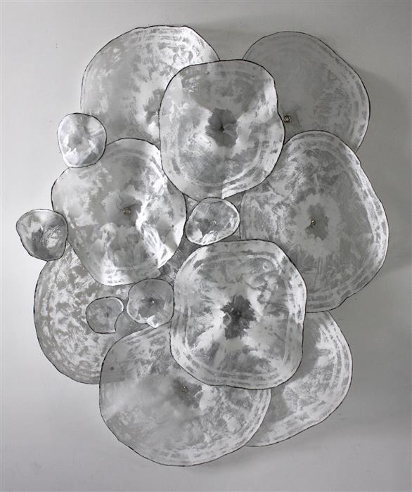"Garden Form  (54"" x 46"") by Atticus Adams, aluminum mesh, gesso, acrylic, wire, grommets, rivets on metal"