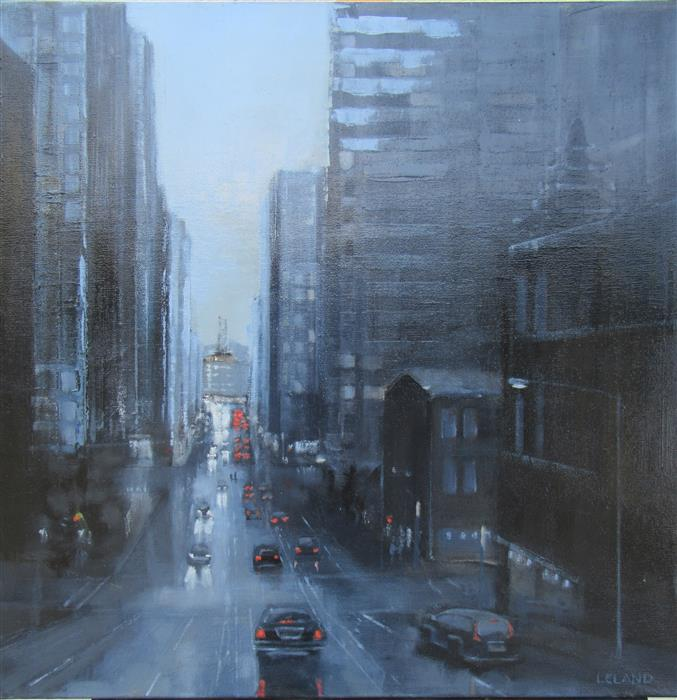 """California Street in Blue  (24"""" x 24"""")  by Jim Leland, oil painting"""