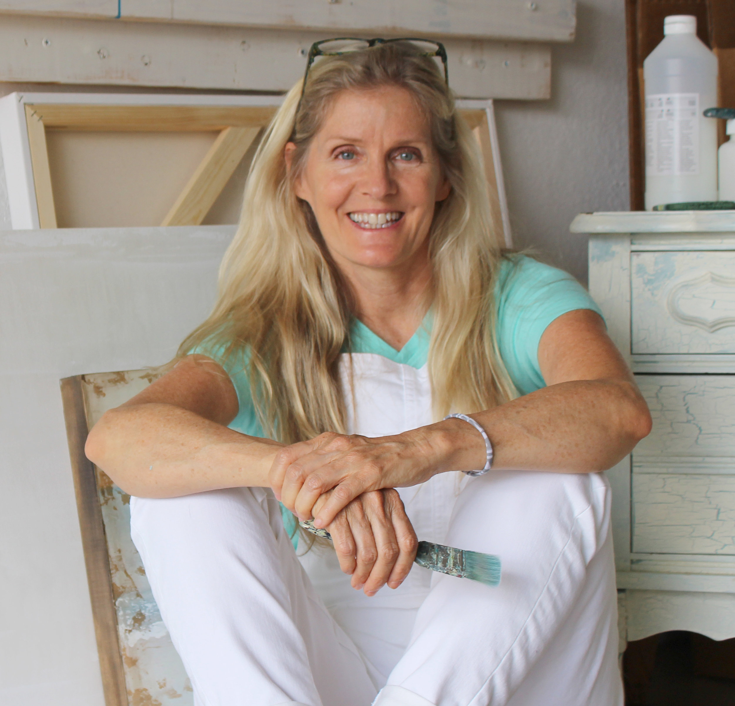 Sally Adams posing in her studio