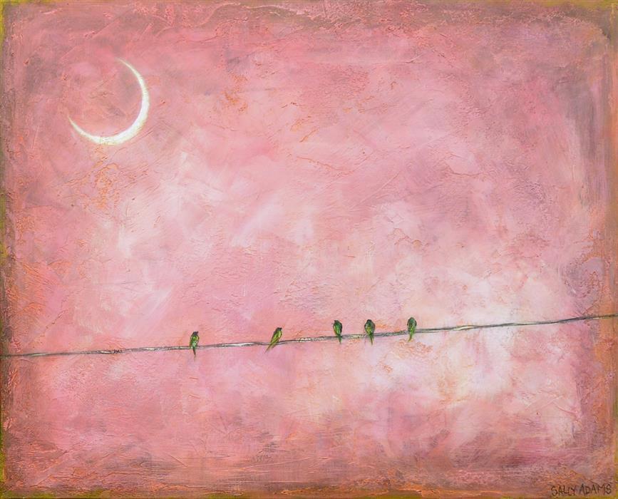 "Pretty on Pink II  (24"" x 30"")by Sally Adams, acrylic painting"