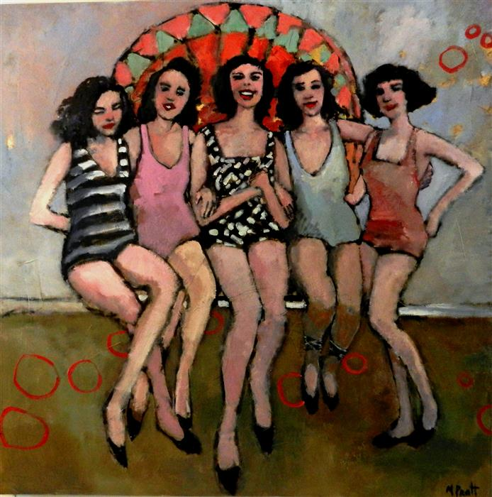 "Gals  (48"" x 48"") by Mary Pratt, oil painting"