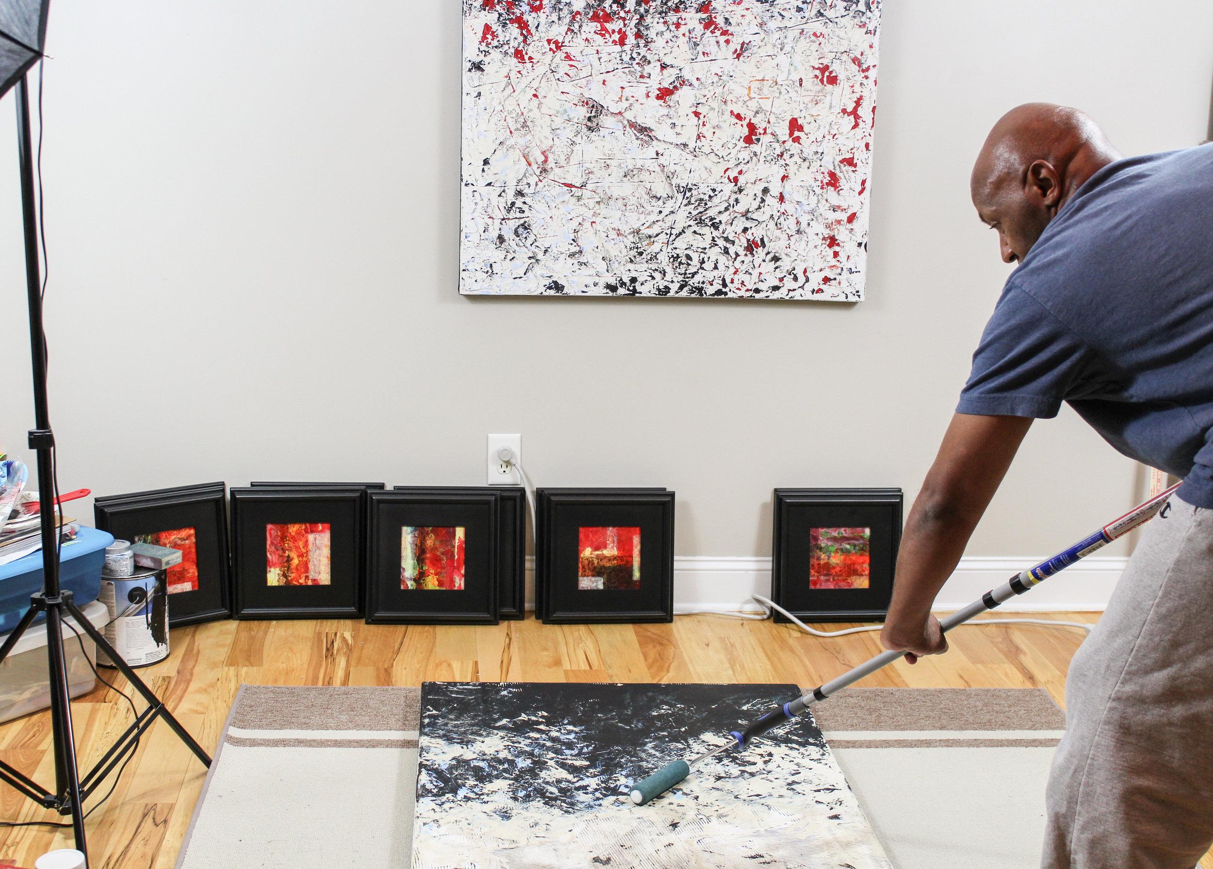 Gary Noland working in his studio