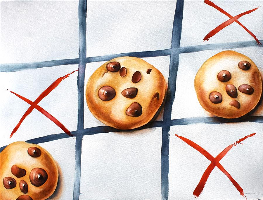 """Tic Tac Dough  (23"""" x 30"""") by Dwight Smith, watercolor"""