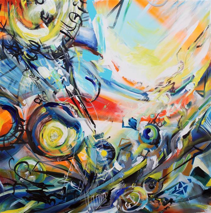 "Paletas (36"" x 36"") by Piero Manrique, acrylic painting"