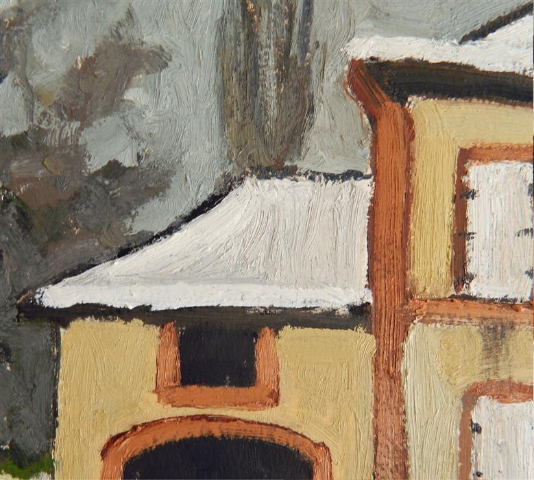 "Detail of   House Near Monyeuvre-Grand  (17"" x 23"") by Robert Holewinski, oil painting"