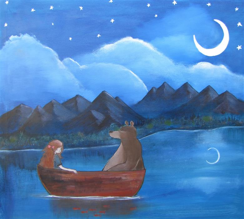 """The Moonlit Lake  (34"""" x 38"""") by Andrea Doss, acrylic painting"""