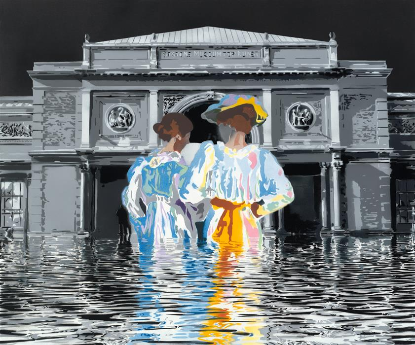 Summer Evening at the National Gallery (Climate Change IV)  by Michael Fischerkeller, acrylic painting