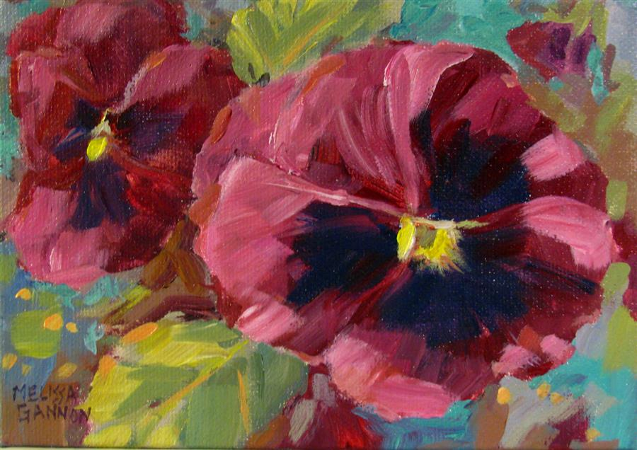 """Reds & Greens & Pansies  (5"""" x 7"""") by Melissa Gannon, acrylic painting"""
