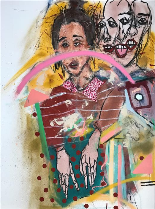 "Anxxxiety (40"" x 30"") by Serge Serum, mixed media artwork"
