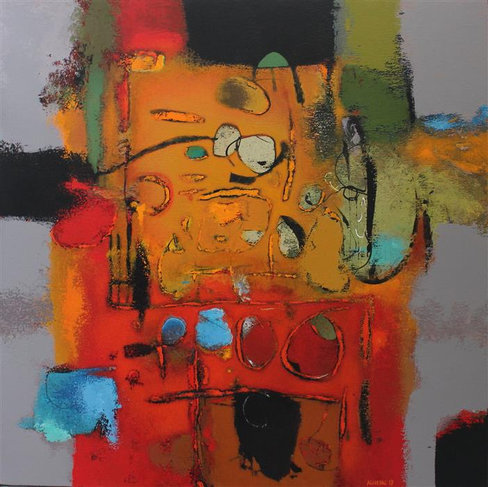 """Untitled (Red)  (31.5"""" x 31.5)  by Orce Nineski, acrylic painting"""