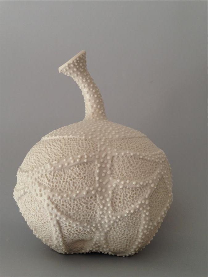 """Medium Whiteware Vessel  (8"""" x 7"""")by Eileen Braun, ceramic artwork"""