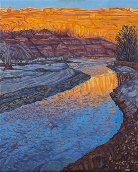 "Sun Sets on the Paria  (30"" x 24"") by Crystal DiPietro, oil painting"