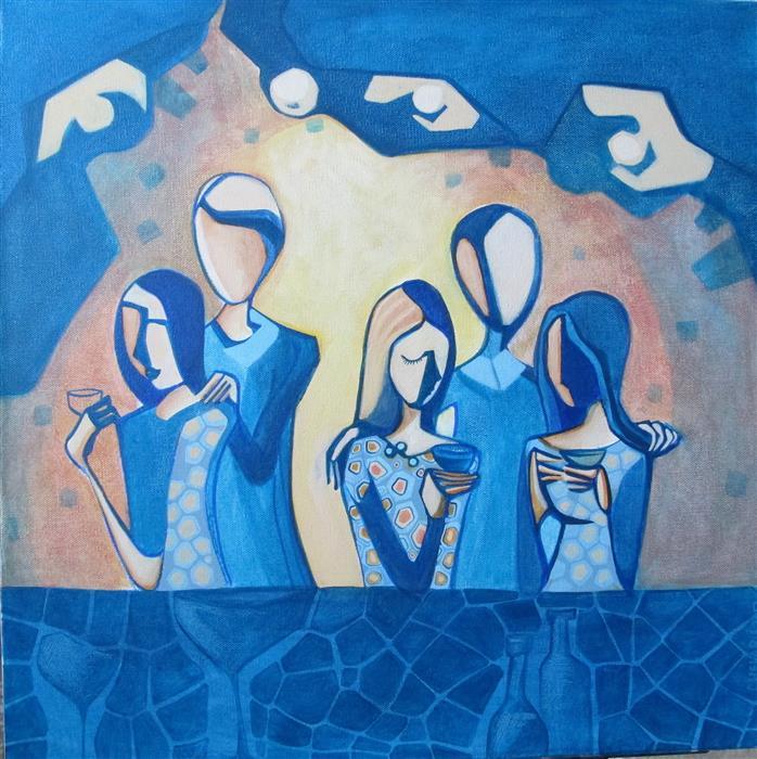 "Late Night  (20"" x 20"") by Diana Elena Chelaru, acrylic painting"