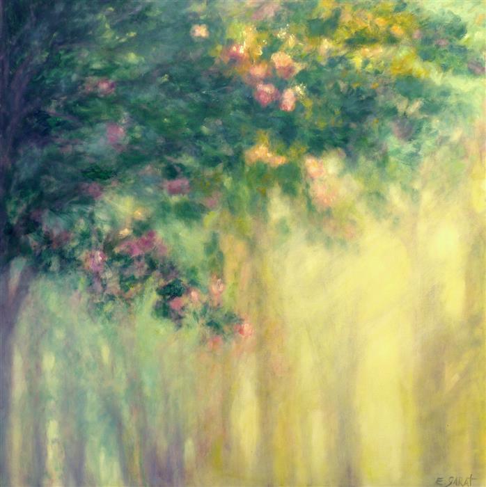 "Dawn Light, Flowering Trees  (48"" x 48"") by Elizabeth Garat, oil painting"