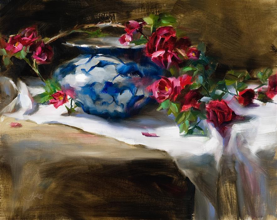 "Wild Red Roses  (16"" x 20"") by Pamela Blaies, oil painting"