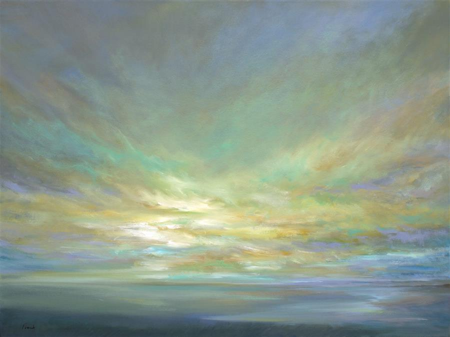 "Coastal Clouds XVI (30"" x 40"") by Sheila Finch, oil painting"