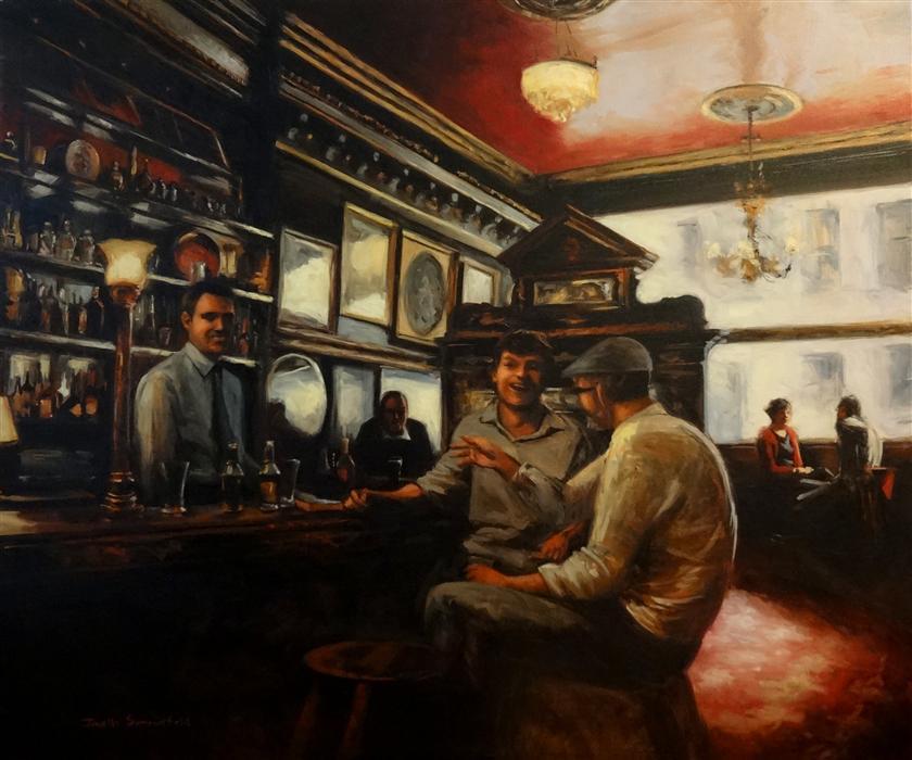 Commissioned artwork of an Irish pub by Jonelle Summerfield
