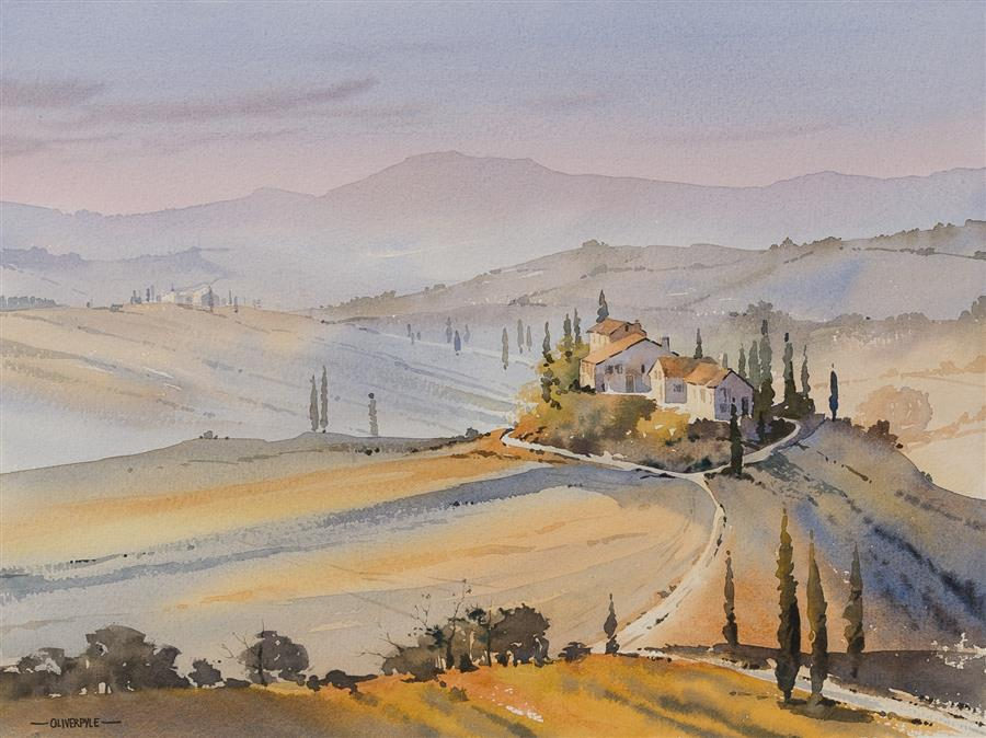 """Colours of Tuscany  (11.5"""" x 15.25"""") by Oliver Pyle, watercolor painting"""