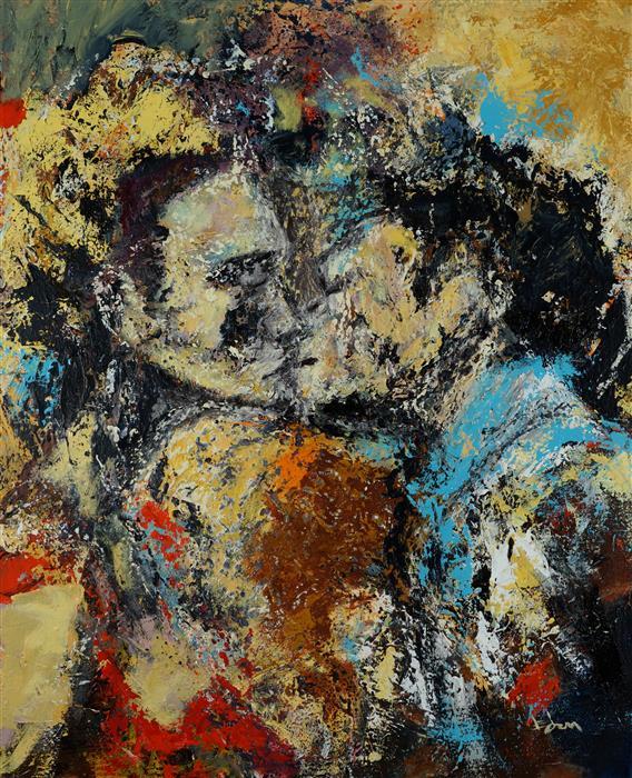 "First Kiss  (30"" x 24"") by Wynston Edun, acrylic painting"