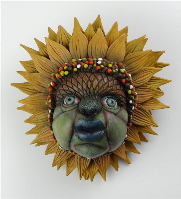 "Miss Sunshine  (9"" x 9"")  by Alison Ye, stoneware on ceramic"