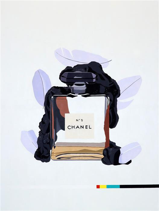 """Chanel No. 5 (Purple) (48"""" x 36"""") by Ryan Park, oil painting"""