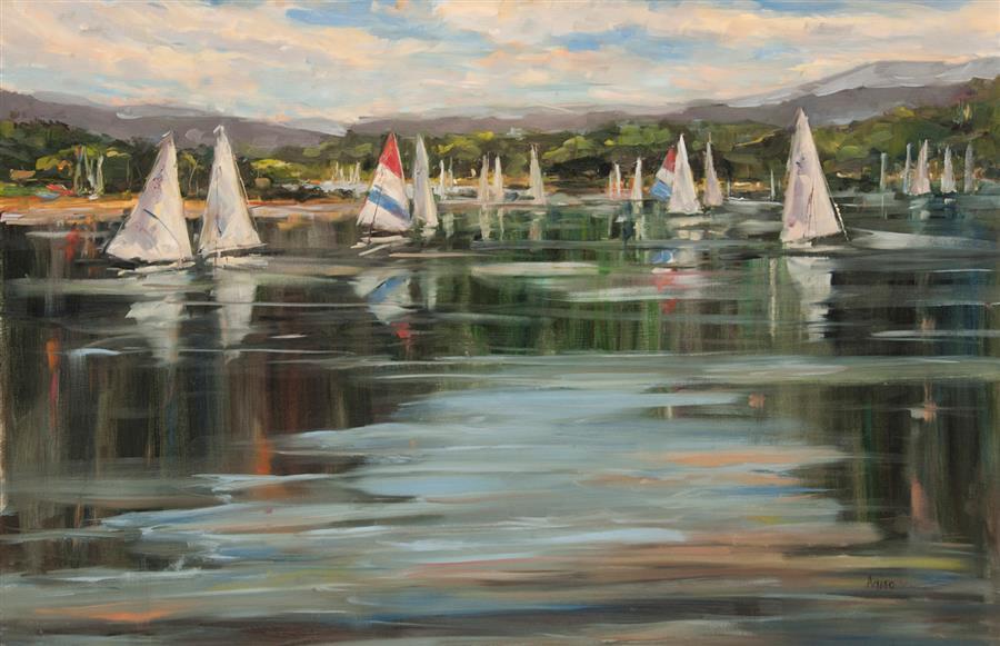 """Wednesday Regatta  (24"""" x 36"""") by Stephanie Amato, oil painting"""