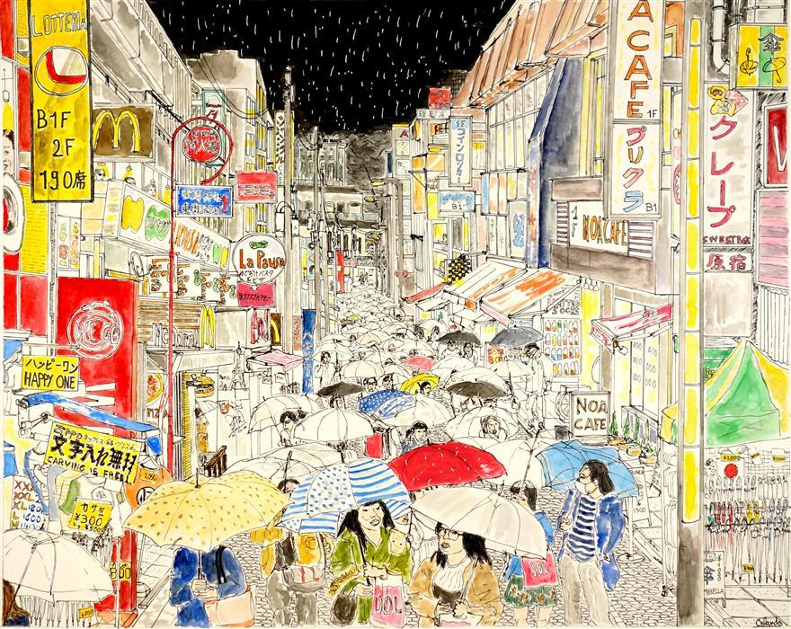 """Harajuku Street at Night  (10"""" x 12.5"""")by Orlando Marin Lopez, watercolor"""