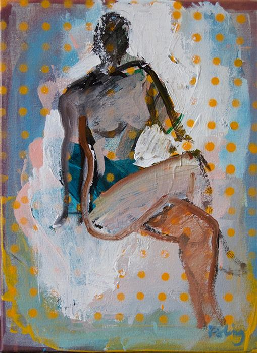 """Figure with Yellow Dots  (16"""" x 12"""") by Stephen Poling, acrylic painting"""