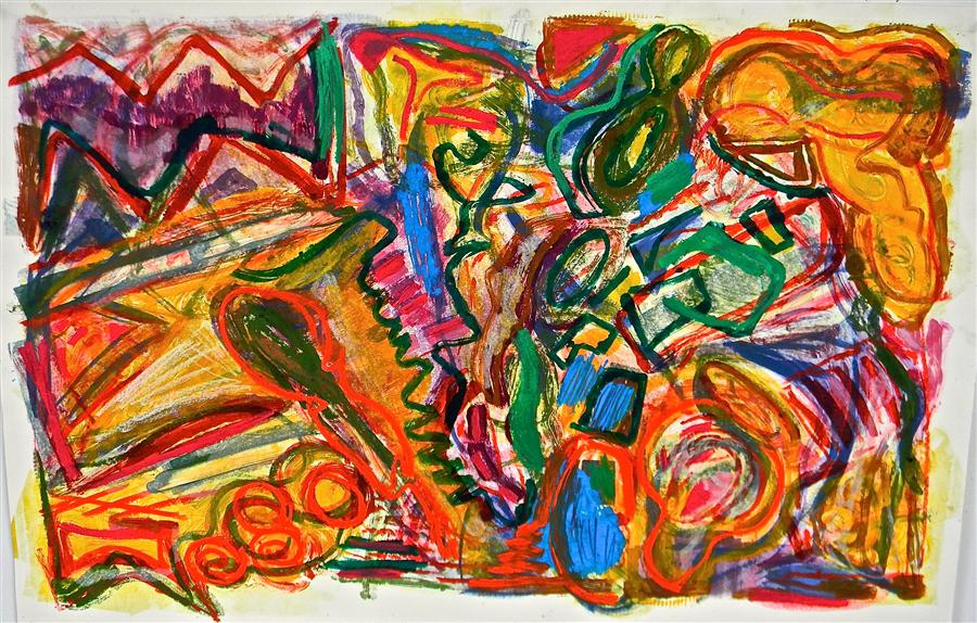 """Mountain Dance  (26"""" x 40"""")  by Andrea Epstein, printmaking"""