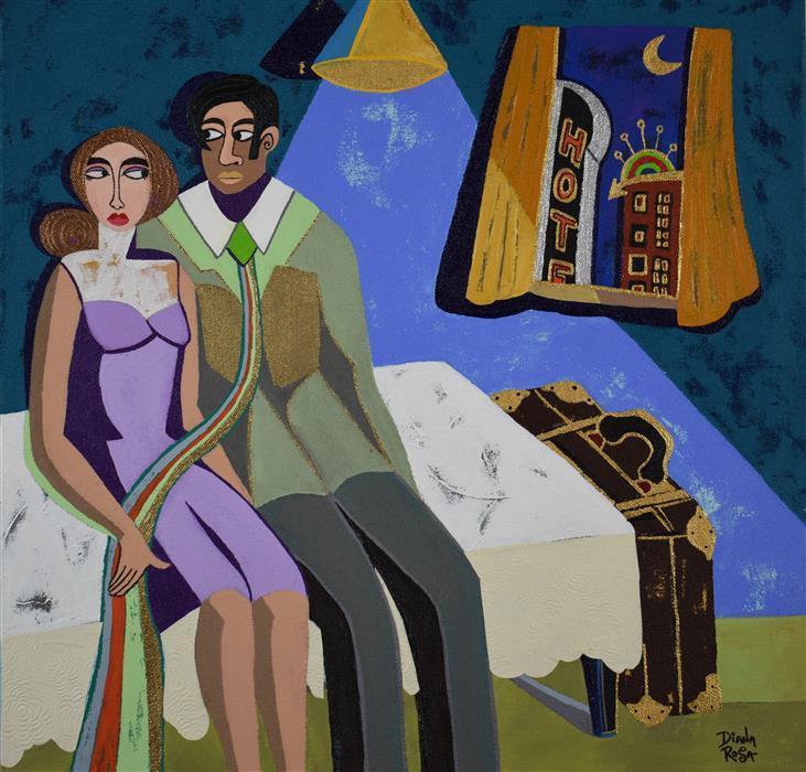 "Hotel Room  (18"" x 18"") by Diana Rosa, acrylic painting"