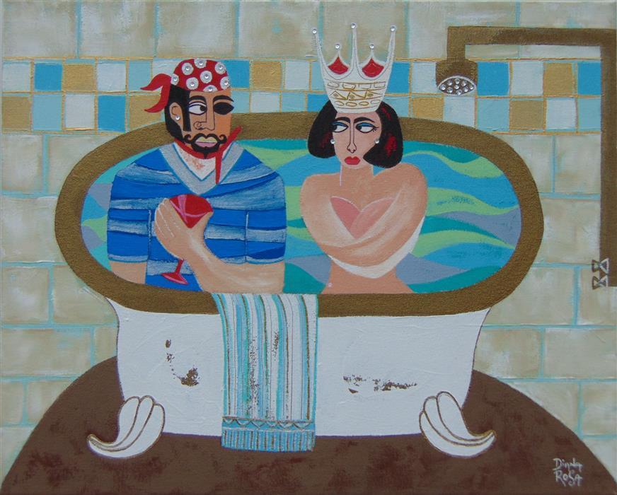 """The Royal Bath  (16"""" x 20"""") by Diana Rosa, acrylic paint, and zirconia stones"""