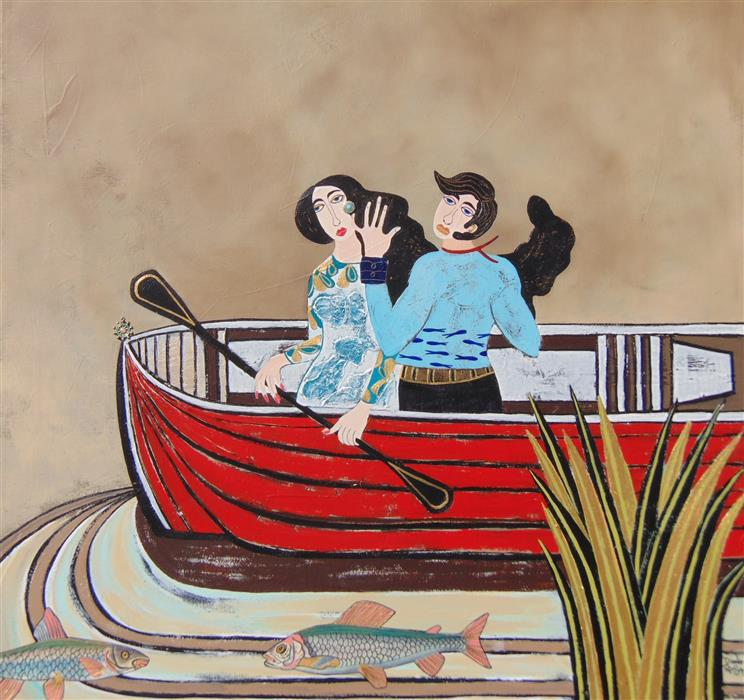 """Boat Trip  (30"""" x 30"""") by Diana Rosa, acrylic paint, metal and plastic jewelry"""