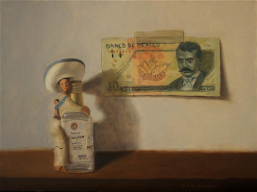 "Mexico's Souvenirs  (9"" x 12"") by Jose H. Alvarenga, oil painting"