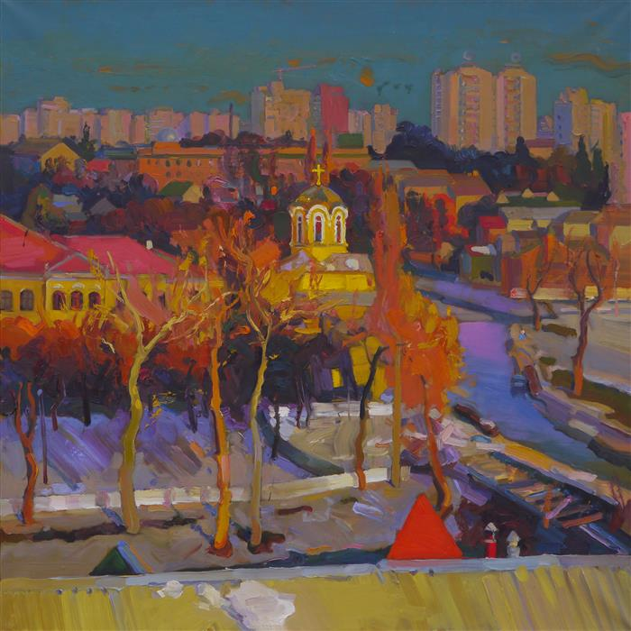 "Sunny Chernihiv  (31.5"" x 31.5"") by Victor Onyschenko, oil painting"