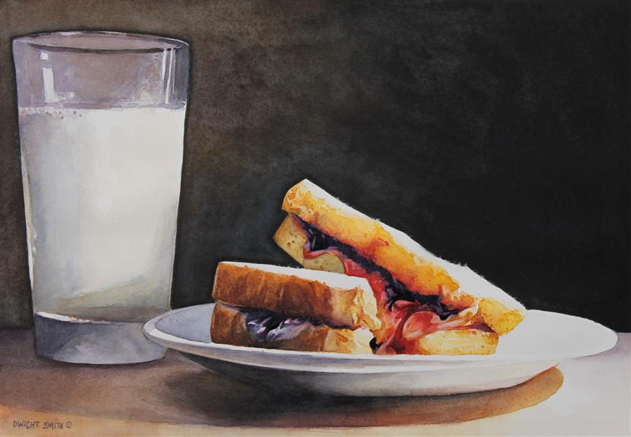 """Midnight Snack  (7"""" x 10"""") by Dwight Smith, watercolor"""