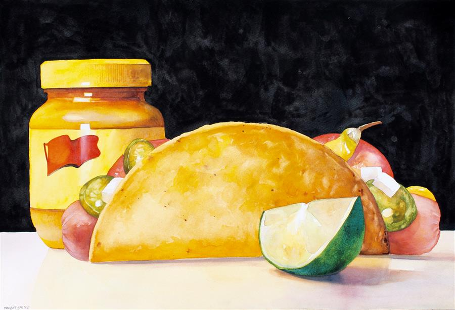 """Fusion Cuisine (15"""" x 22"""") by Dwight Smith, watercolor"""