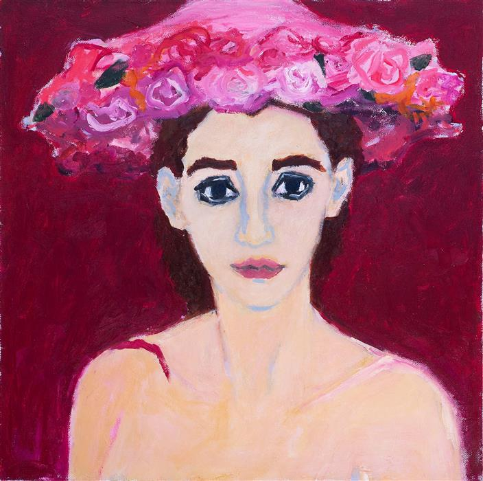 "Woman in Flowered Hat  (28"" x 28"") by Betsy Podlach, oil painting"