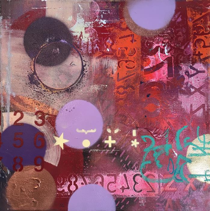 "City Glow Nightscape  (14"" x 14"") by Janine Etherington, acrylic painting"