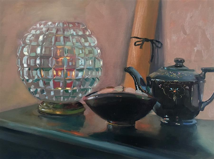 Still Life with Grandma's Teapot  by Carl Grauer, oil painting