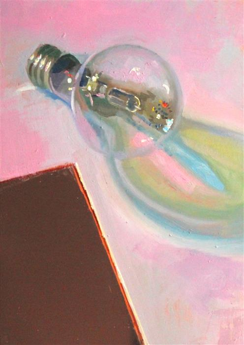 """Lost & Found Lightbulb  (7"""" x 5"""")by Carl Grauer, oil painting"""
