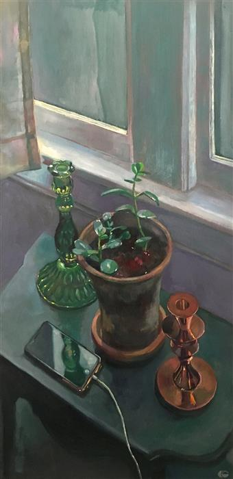 """Still Life With Phone ( 29.75"""" x 14.75"""") by Carl Grauer, oil painting"""