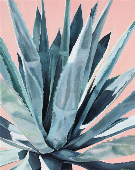 "Agave with Coral  (30"" x 24"") by Alana Clumeck, acrylic painting"