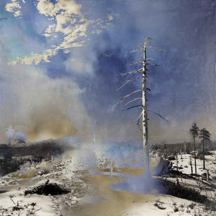 "Dawn of Resilience  (30.25"" x 30.25"")  by Jiela Rufeh, encaustic artwork on wood"